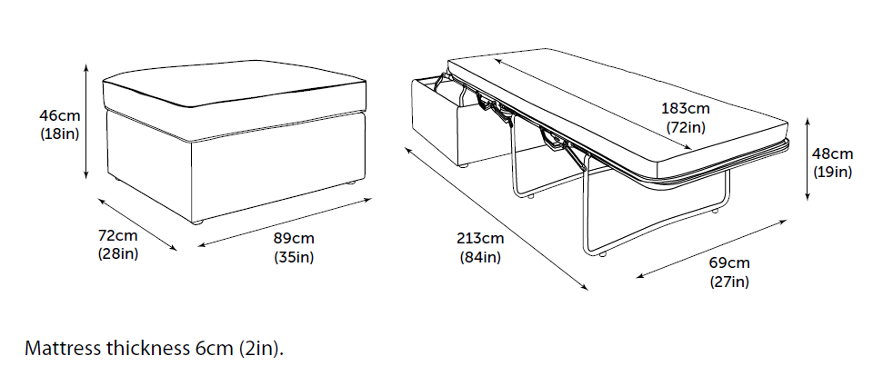 Jay-Be Footstool folding bed dimensions