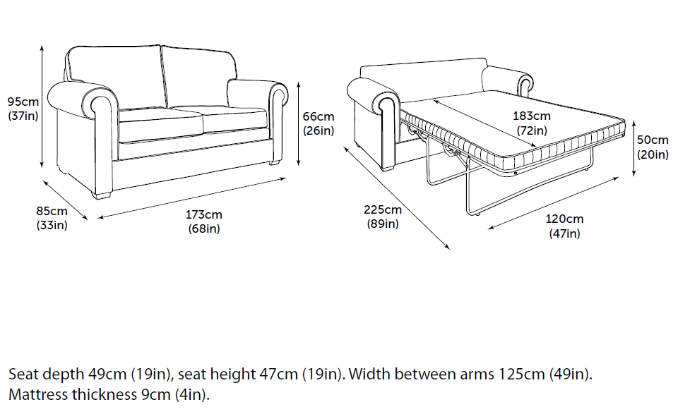 Jay-Be Classic sofa bed bed dimensions