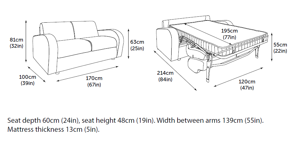 Jay-Be Retro sofa bed 2 seater dimensions