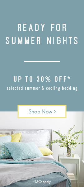 Ready for summer nights | Up to 30% off cooling & summer bedding