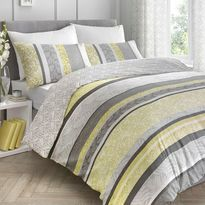 Dreams & Drapes Hanworth Ochre Duvet Set reversible