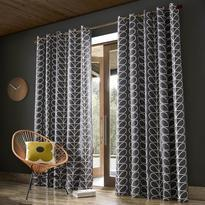 Orla Kiely Linear Stem Curtains Charcoal Eyelet