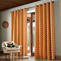 Orla Kiely Linear Stem Curtains Papaya Orange Eyelet