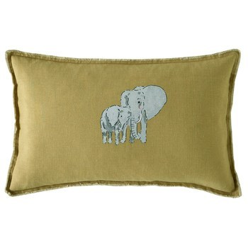 Sophie Allport ZSL Elephant Filled Mustard Cushion 30x50