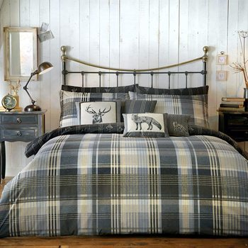 photo of Dreams & Drapes Connolly Check Charcoal Duvet Set reversible