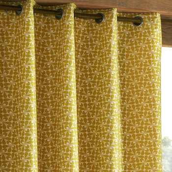 photo of Orla Kiely Woven Acorn Cup Eyelet Curtains Dandelion
