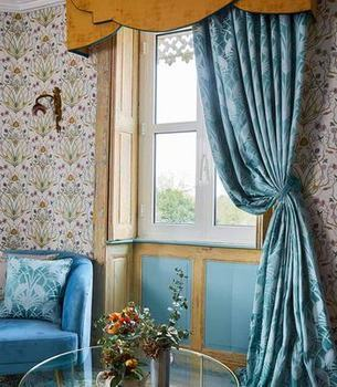 Angel Strawbridge Curtains Deco Heron Teal