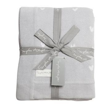 Sophie Allport Hearts Grey Knitted Blanket Throw