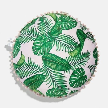 SkinnyDip Dominica Palm Print Round Cushion