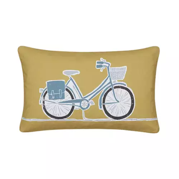 photo of Scion Snowdrop Midnight Bicycle Cushion Ochre
