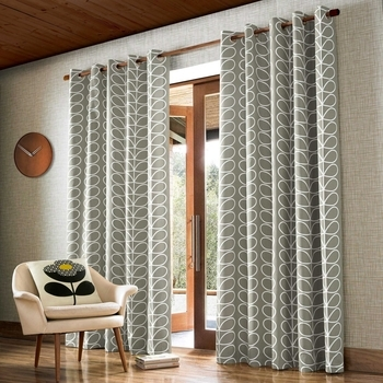 photo of Orla Kiely Linear Stem Curtains Silver Eyelet 46x90
