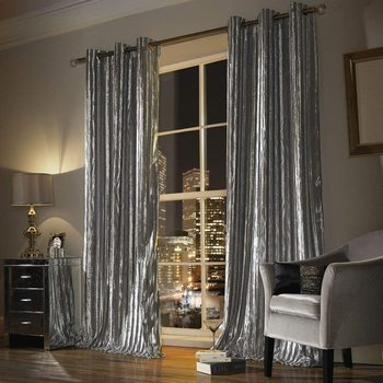 Kylie Minogue Iliana Curtains Silver Velvet 66x72