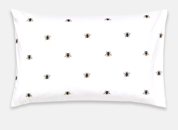 Joules Botanical Bee Blue Housewife Pillowcase White