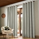 Orla Kiely Linear Stem Curtains Silver Eyelet 90x90