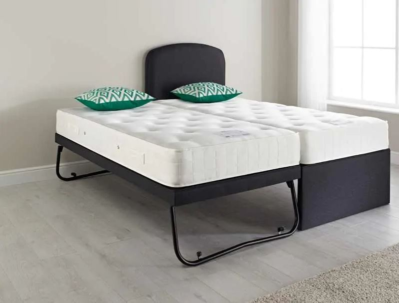 Relyon Guest Bed Coil Mattresses Headboard Small Single Mineral Grey