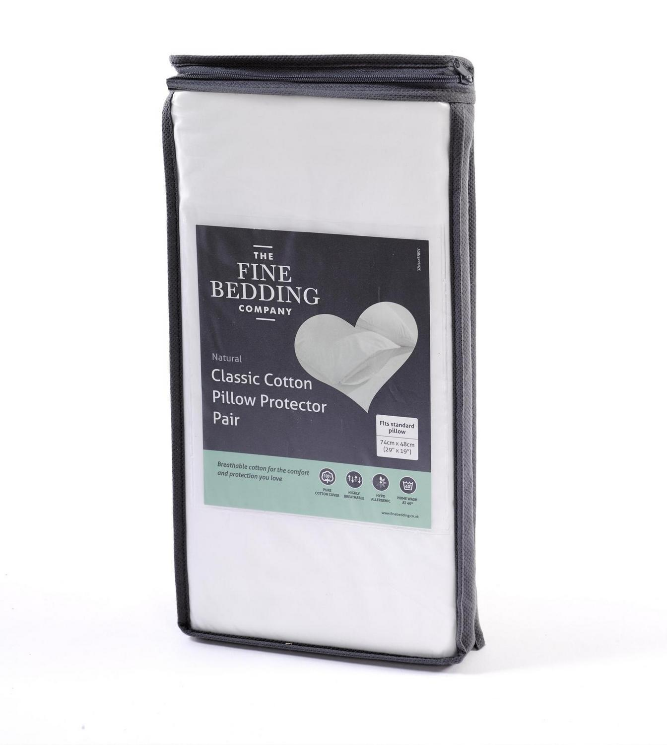 The Fine Bedding Co Classic Cotton Pillow Protector Pair (£12.00)