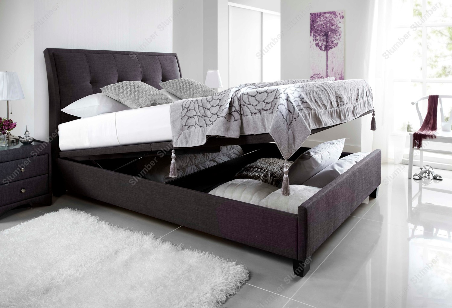 Kaydian Accent Ottoman Storage Bed Slate