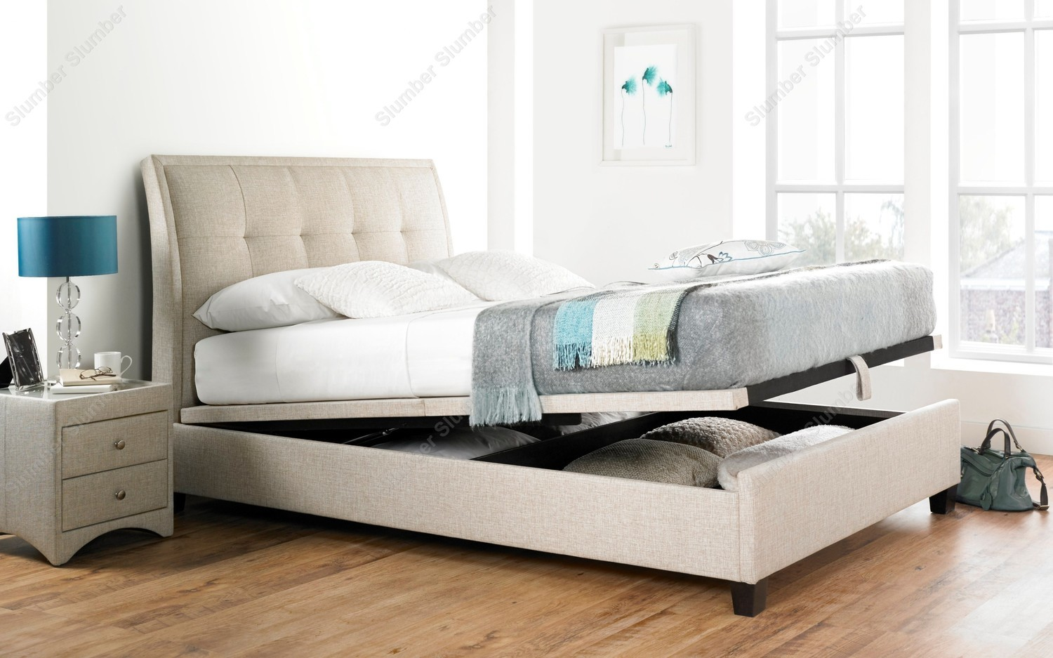 Kaydian Accent Ottoman Storage Bed Oatmeal