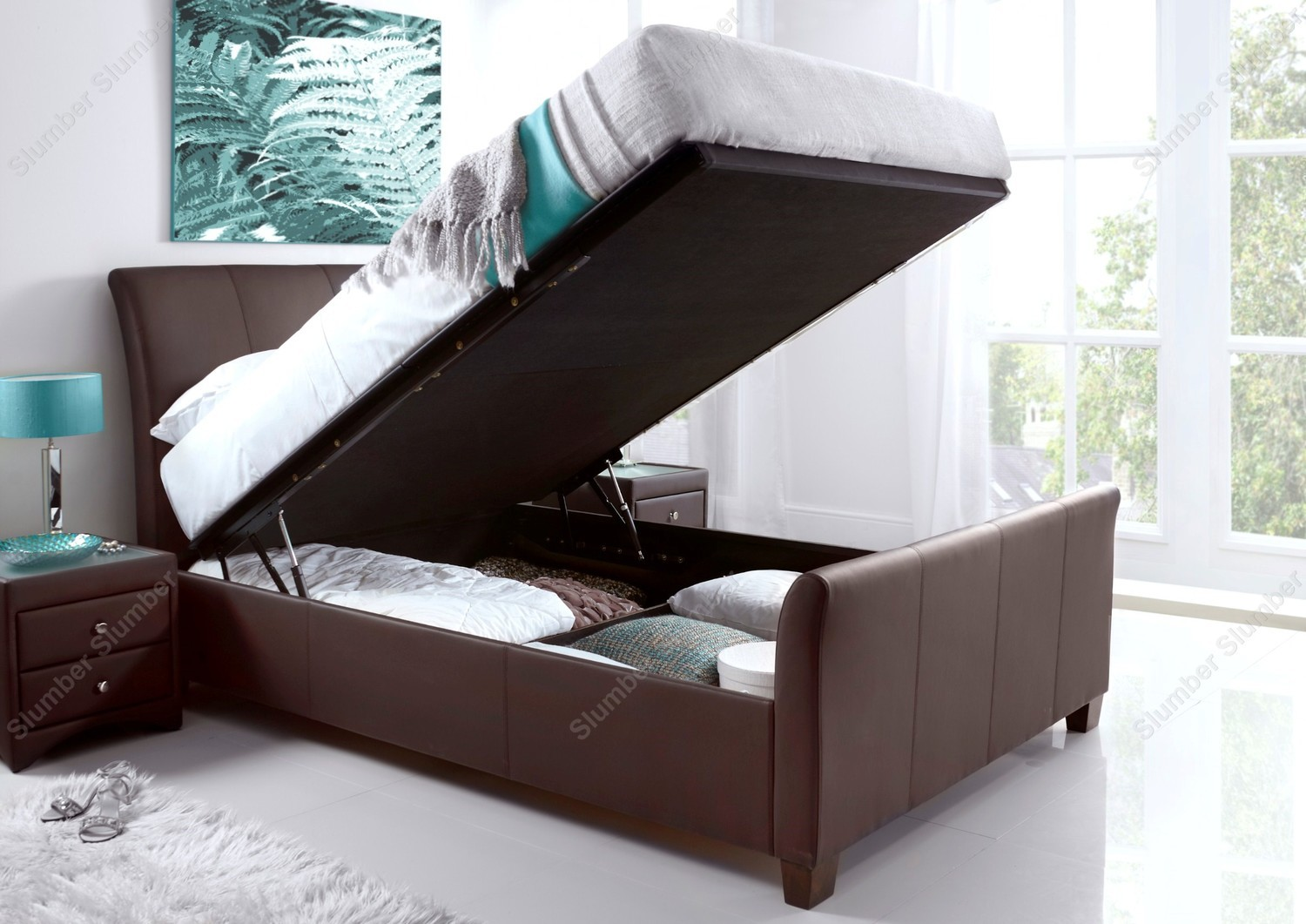 Kaydian Allendale Ottoman Storage Bed Frame brown bonded leather