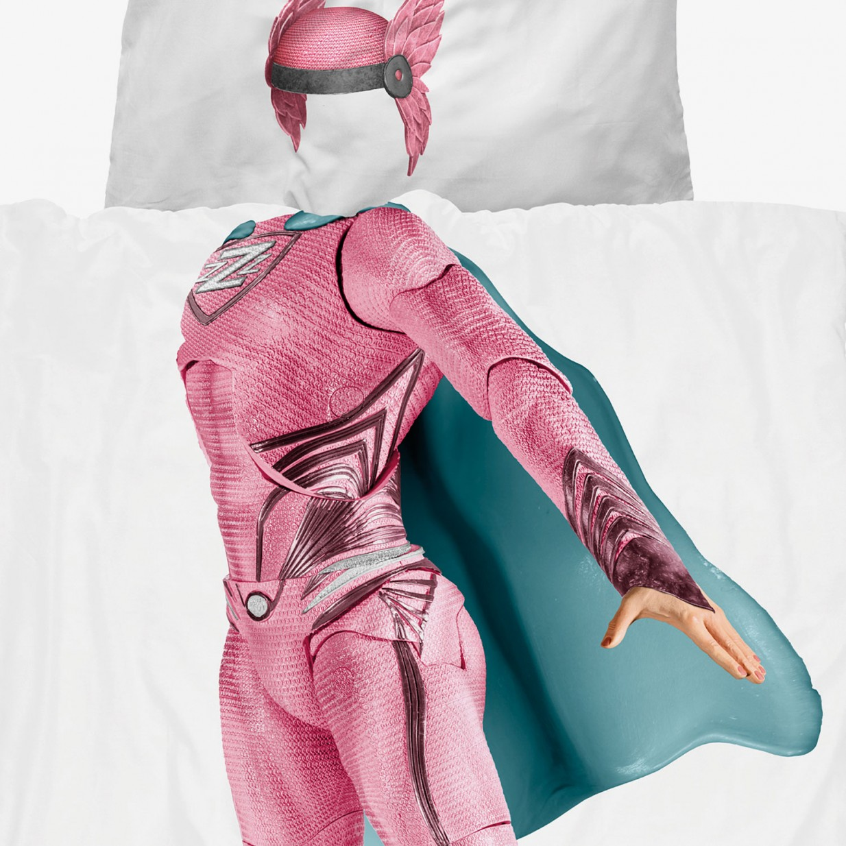 Snurk Superhero Duvet Cover & Pillowcase Pink
