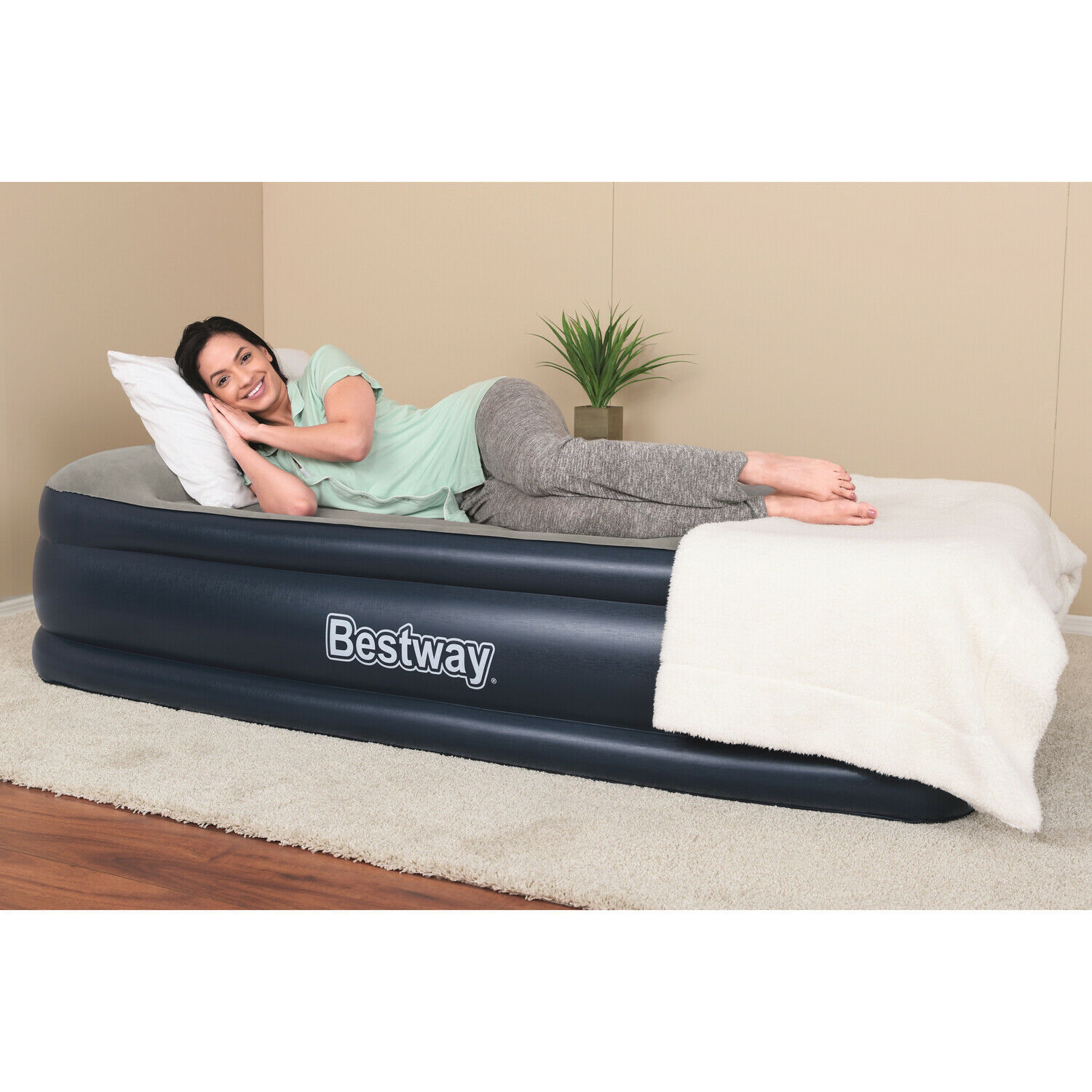 Bestway Airbed With Built-In AC Pump - Twin