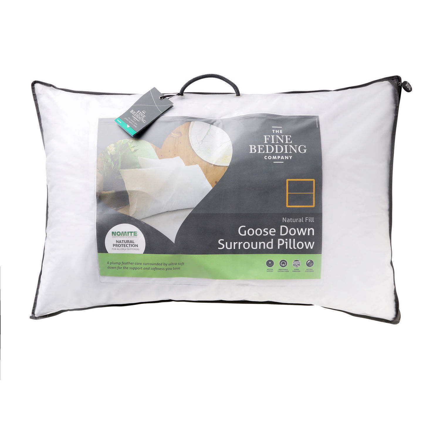 The Fine Bedding Co Goose Down Surround Pillow