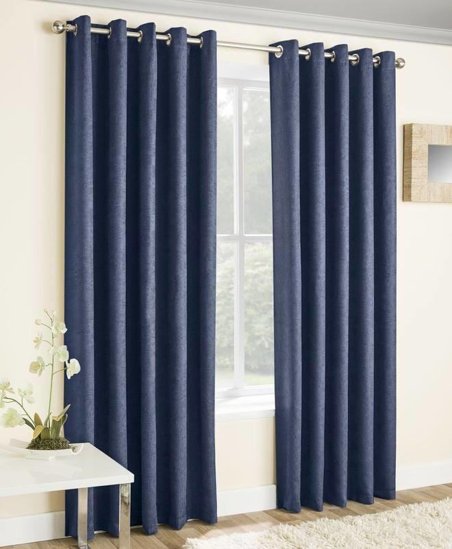 Navy Thermal Curtains Blockout Eyelet Vogue