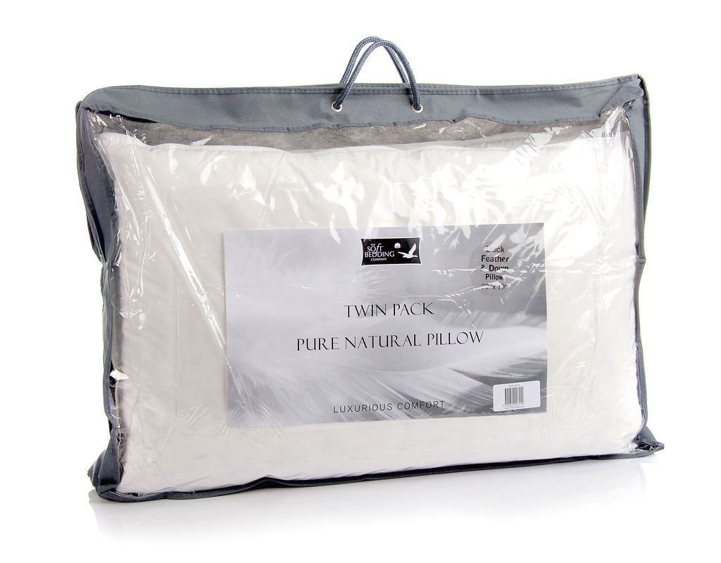 White Duck Feather and Down Pillow Pair The Soft Bedding Company