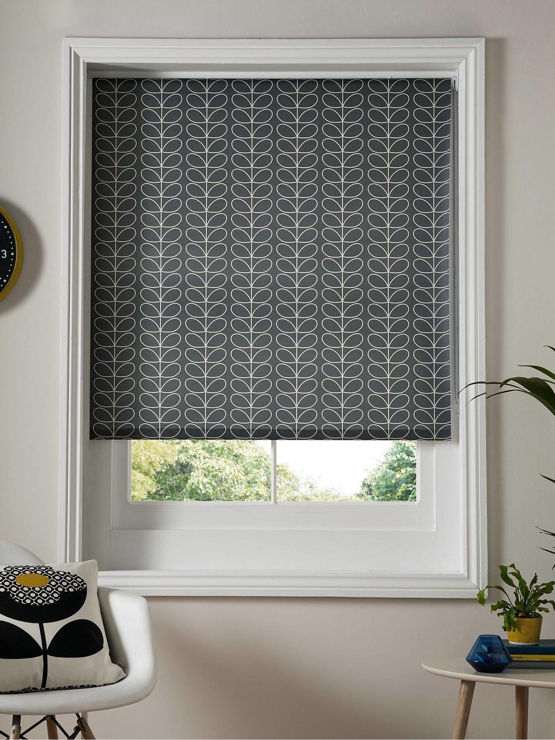Orla Kiely Linear Stem Roller Blind - Cool Grey