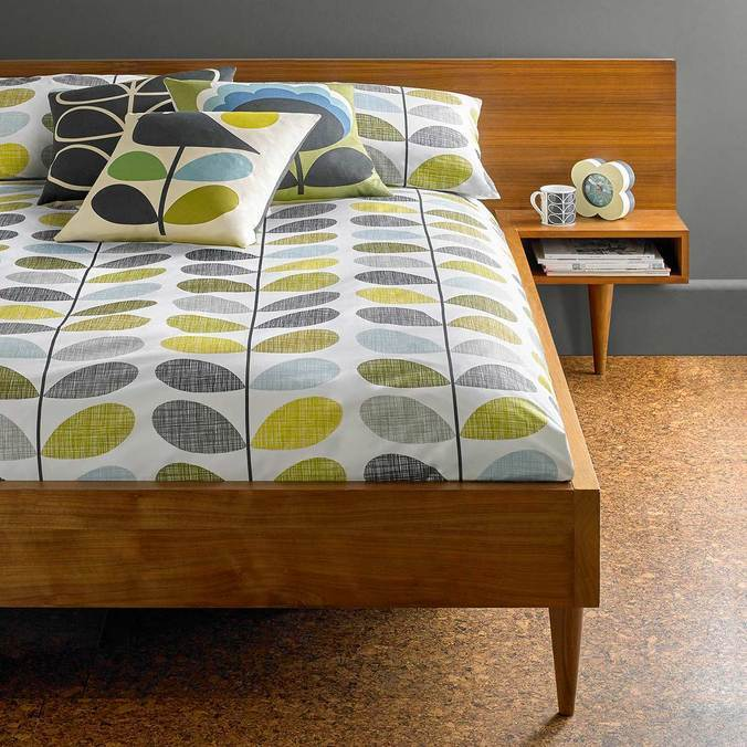 Orla Kiely Scribble Stem Bedding duck egg/seagrass