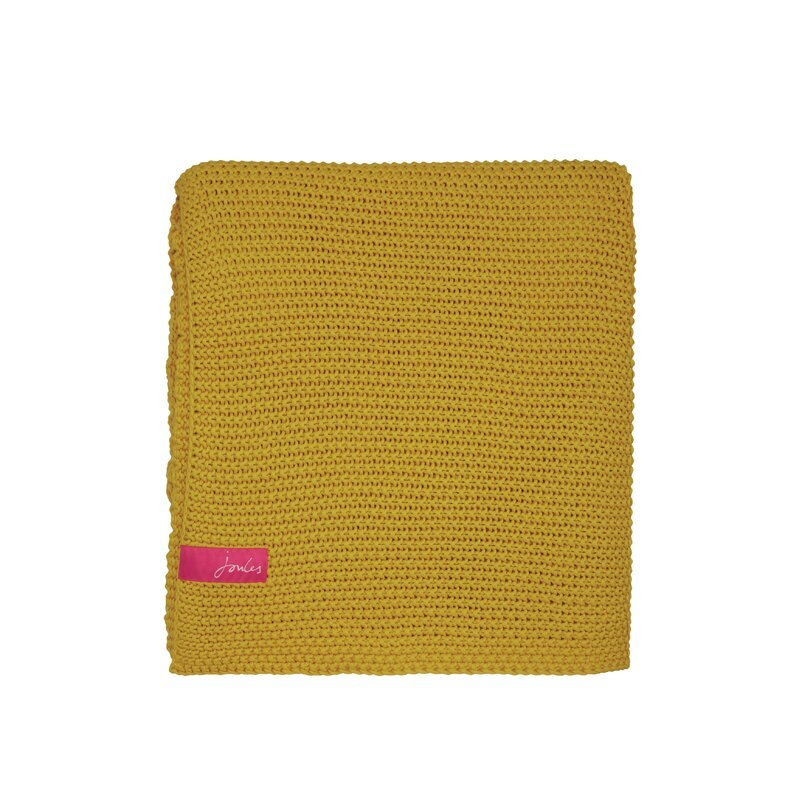Joules Moss Stitch Antique Gold Knitted Throw