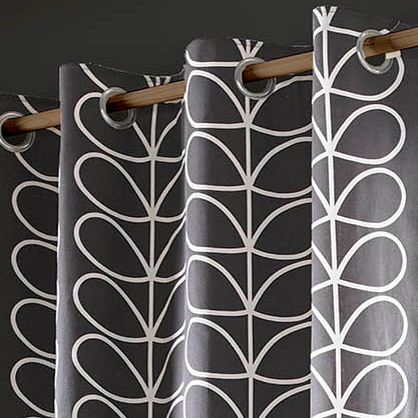 Orla Kiely Linear Stem Curtains Charcoal Eyelet 46x90