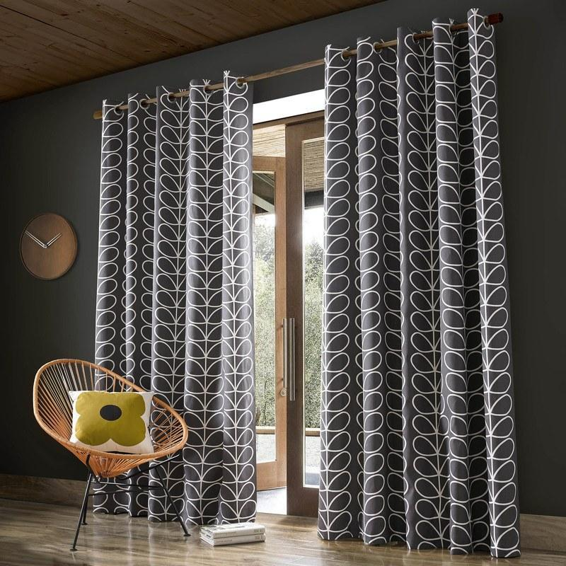 Orla Kiely Linear Stem Curtains Charcoal Eyelet 90x108