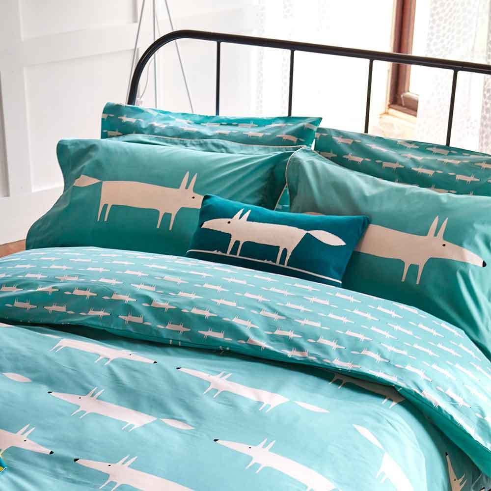 Scion Mr Fox Duvet Cover Teal Super King