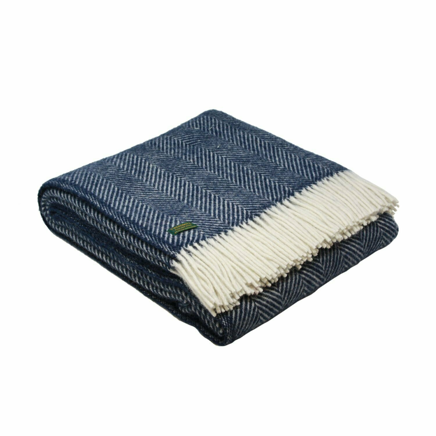 Tweedmill Herringbone Small Wool Blanket Throw Navy