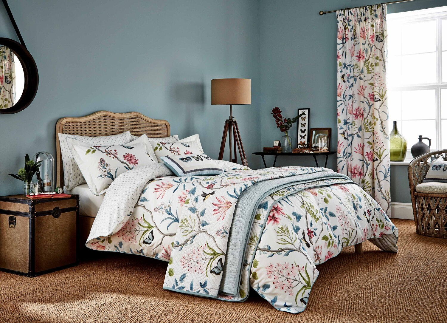 Sanderson Clementine Duvet Cover Set Duck Egg Single